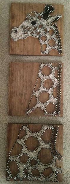 3 Panel Giraffe - Nail and String Art by brokenwingArts