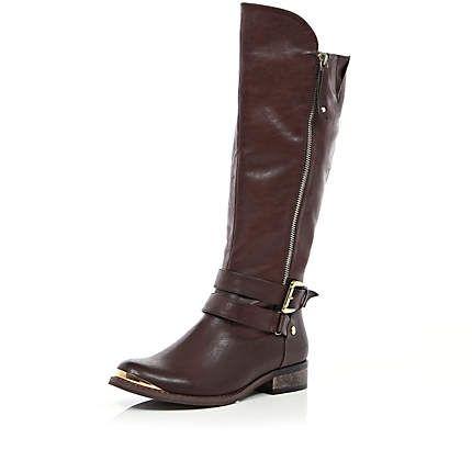 Dark brown zip detail riding boots £60.00