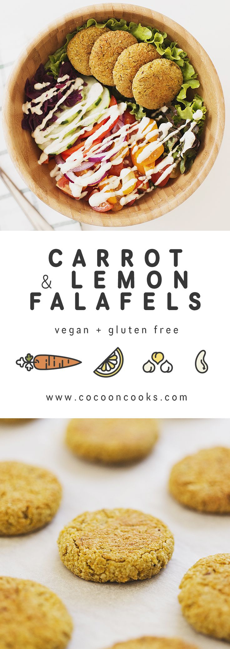 These baked falafels are 100% plantbased, crispy and delicious! Served in a big salad bowl drizzled with a Lemon & Tahini Dressing.