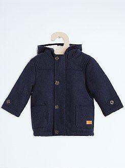 Abrigos, monos - Abrigo de lana sintética con capucha - Kiabi