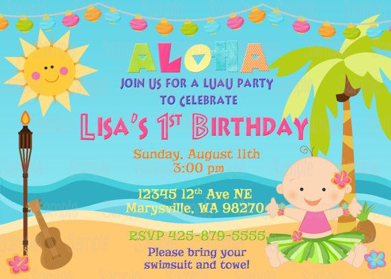 Printable Luau Birthday Party Invitation By PartyInnovations09