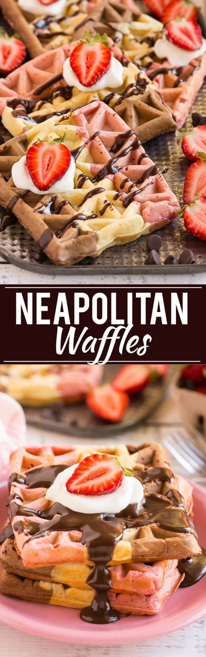 Have your favorite ice cream flavor for breakfast with this recipe for neapolitan waffles. It's one batter flavored three different ways!