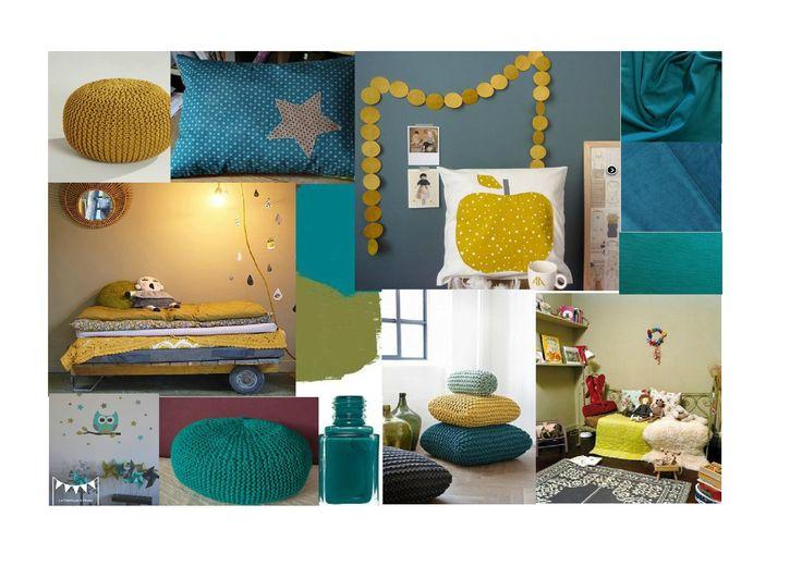Bleu canard inspiration pinterest b b d co et recherche for Peinture chambre vert canard