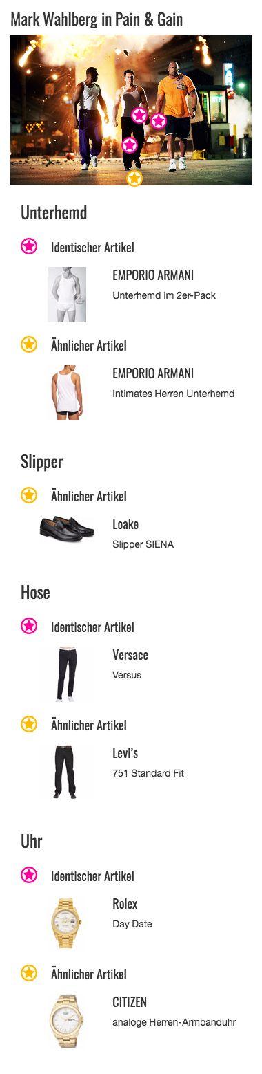 """Dass ein Bodybuilder den ganzen Tag nur in Sportklamotten rumlaufen widerlegt Daniel """"Danny"""" Lugo alias Mark Wahlberg mit seiner schwarzen Jeans von Versace. Der lockere Schnitt der Hose verleiht Dannys Outfit trotzdem einen sehr sportlichen Look."""