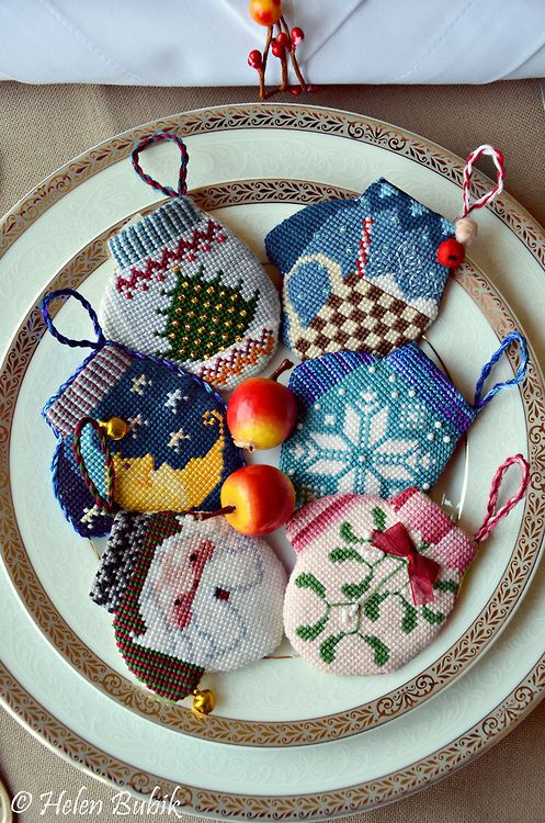 How much do I love these? needlepoint mitten ornaments