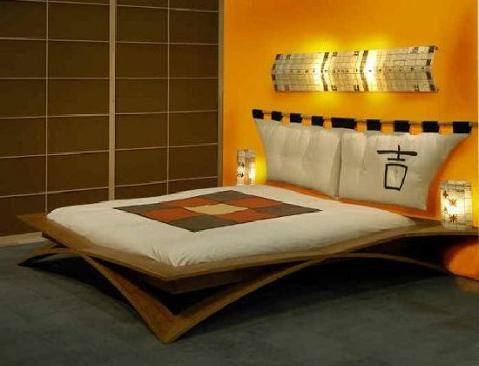 Dormitorio estilo oriental iluminación