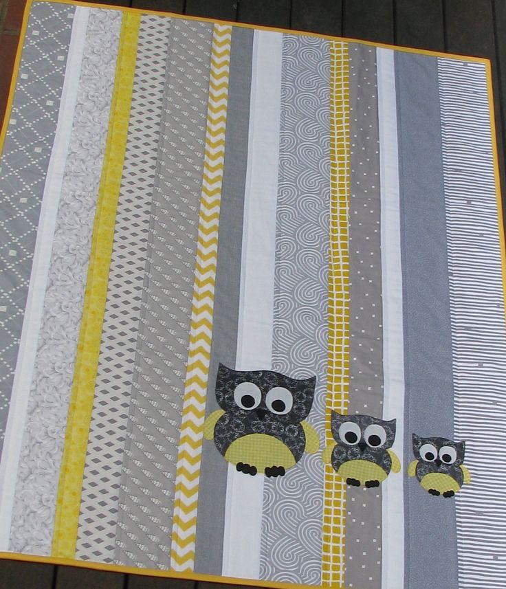 quilt cot crib baby nursery handmade grey yellow owls modern boy girl gift decor. $135.00, via Etsy.