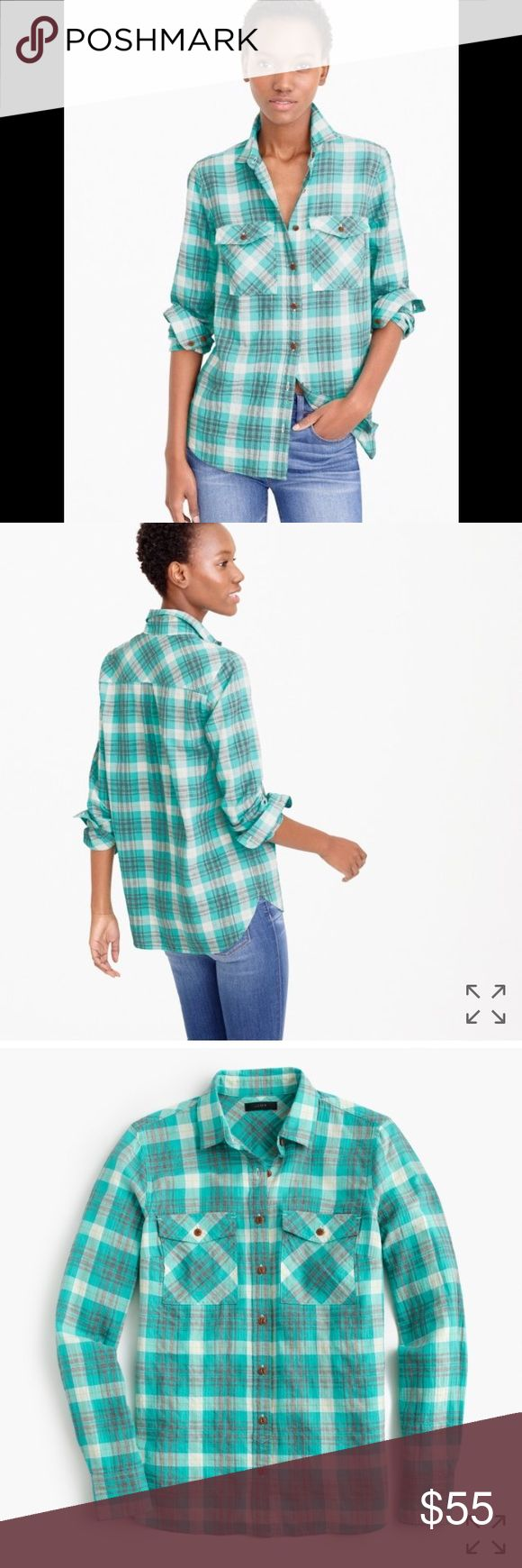 J. Crew Emerald Plaid Boyfriend Shirt Slightly more relaxed than the boy shirt, the J. Crew Boyfriend shirt is the perfect everyday piece for your wardrobe. Soft 99% cotton, 1% elastane. Fits TTS. Excellent condition,worn once. Measurements available upon request. NO TRADES! J. Crew Tops Button Down Shirts