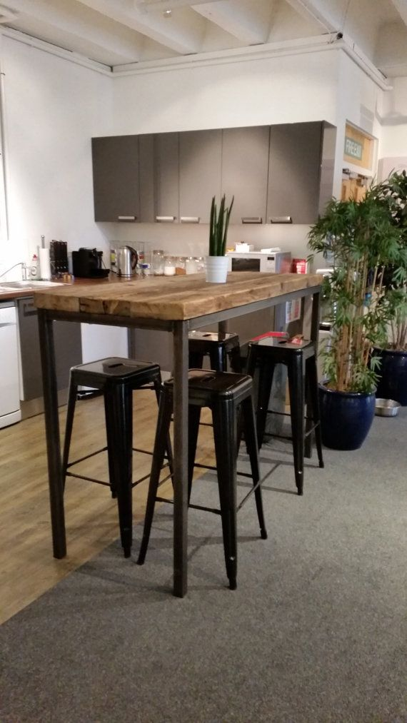 Reclaimed Industrial Chic 6 8 Seater Tall Poseur Bar Table.Bar And Cafe  Restaurant Furniture Steel And Wood Made To Measure,office 143