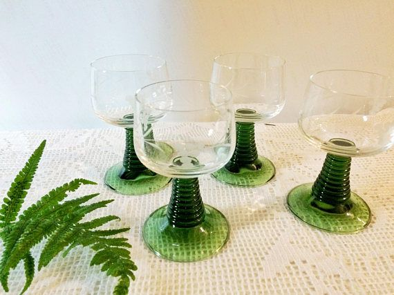 Vintage Roemer German wine glasses set of four / green stemmed