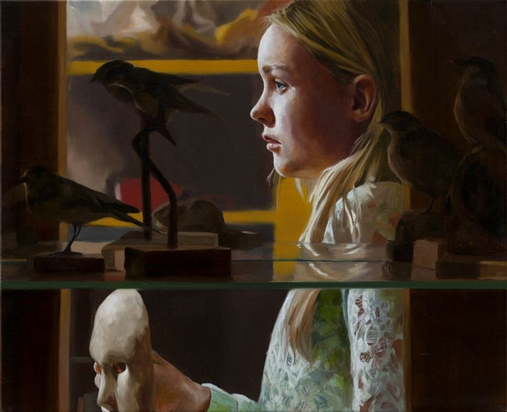 The Mask (Girl behind the cabinet), 2015, Markus Akesson, oil on canvas