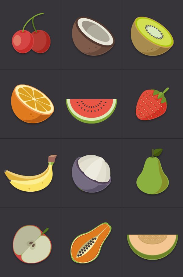 Fruit Icons by buatoom , via Behance