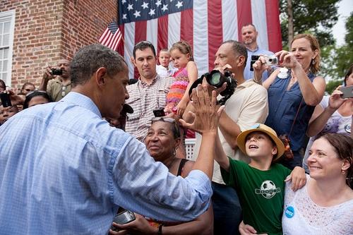 Hi-fiving the president.