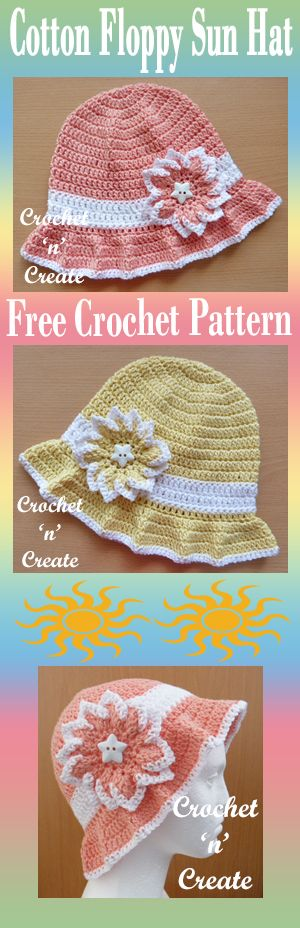 Protect your head from the rays with this free crochet pattern for cotton floppy sun hat. #crochet