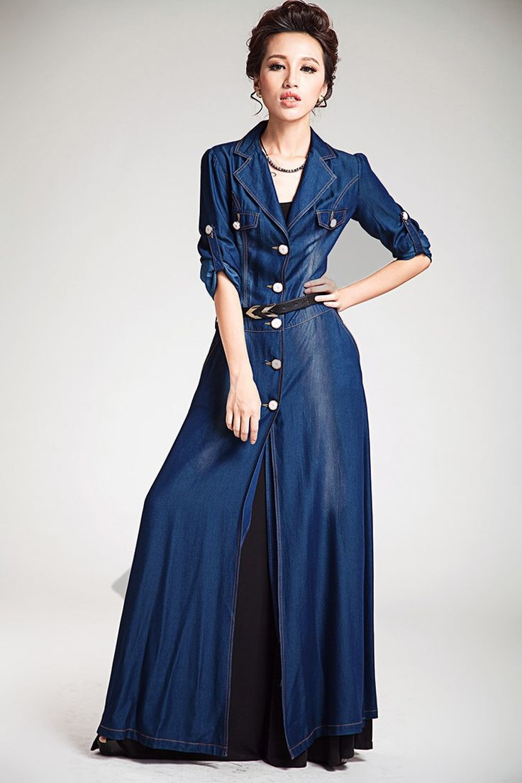 Tall Women's Coats and Jackets | Tencel Silk Long Maxi Denim Jacket Coat outerwear blue for tall women ...