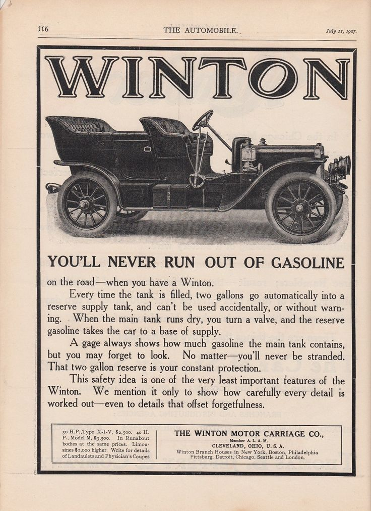 1907 winton motor carriage co cleveland oh ad never run out of gas reserve tank ebay vintage. Black Bedroom Furniture Sets. Home Design Ideas