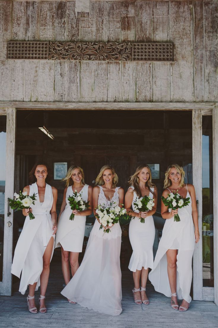 modern white bridesmaid dresses