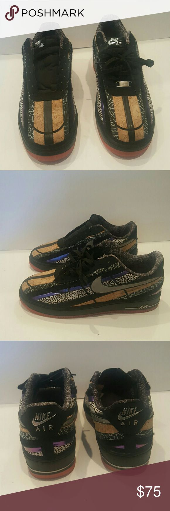 RARE NIKE LEBRON 13 AIR FORCE 1 573974-003 NIKE  AIR FORCE 1 LEBRON CORK  LEATHER.CALF HAIR LIMITED EDITION  MENS 13 WORN TWICE MISSING ONE SHOE LACE REALLY RARE PATTERN Nike Shoes Sneakers