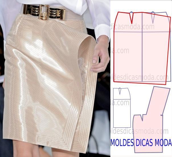 Analise a execução do molde de saia livro que está explicada com grande rigor, em pormenor no desenho, para que concluam a modelagem da saia com facilidade.