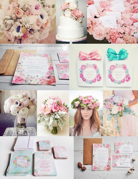 Projekt Ślub - papeteria ślubna, zaproszenia i dodatki na wesele, indywidualne projekty : Zaproszenia Ślubne z motywami kwiatowymi - uniwers...