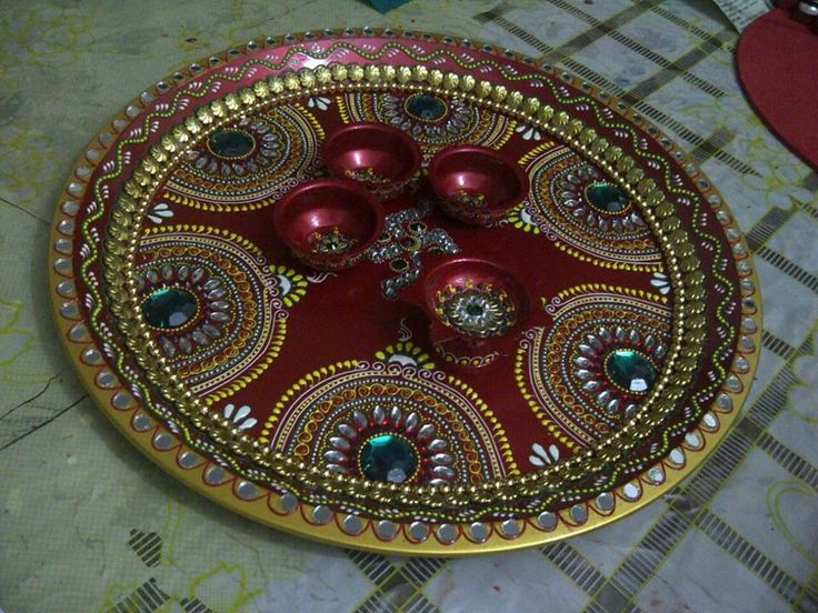 77 best thali decor images on pinterest trays wedding for Aarti thali decoration with clay