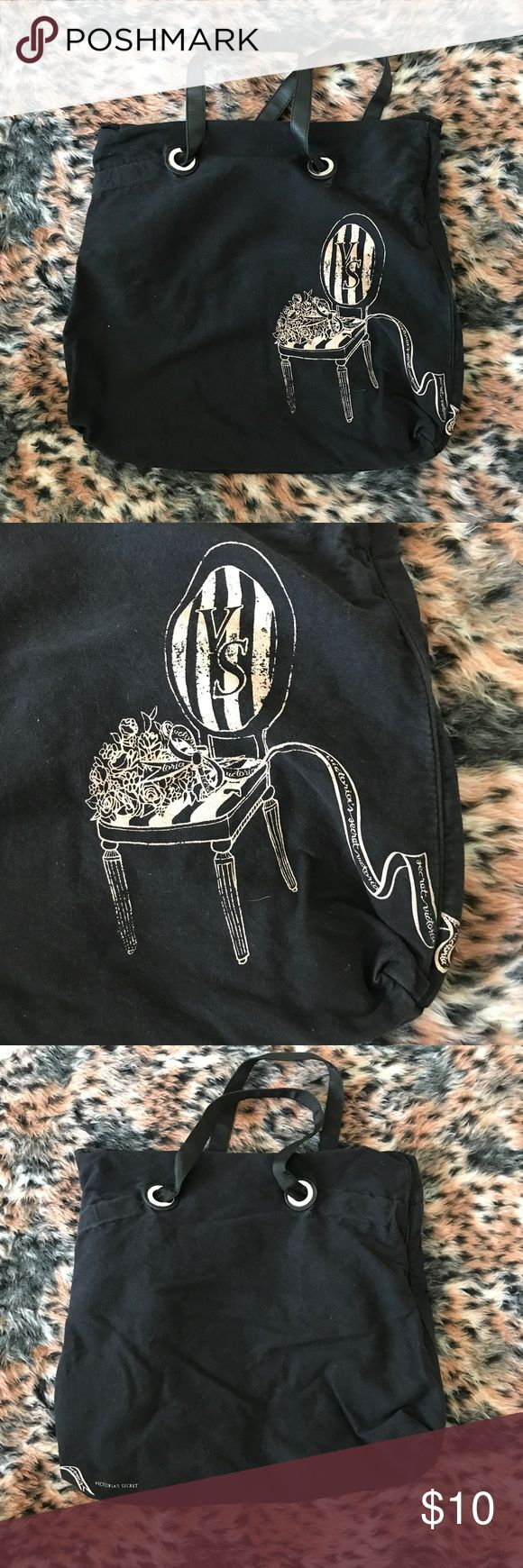 A black and creme Victoria's Secret tote A gently used black and creme Victoria's Secret tote with a print on the front right corner of the tote. It has a small zip pocket inside of the bag. There isn't any Wear or stains inside of the tote. Victoria's Secret Bags Totes