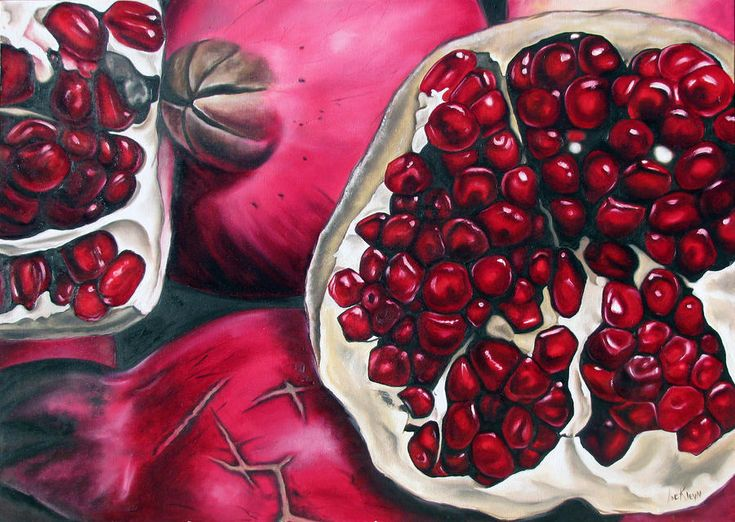 Pomegranates Painting by Ilse Kleyn - Pomegranates Fine Art Prints and Posters for Sale