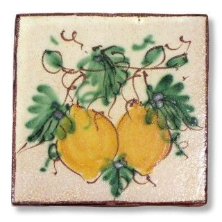 <h3>This Sicilian tile depicts two juicy lemons.</h3><br /> <p>The tile is entirely handmade and hand painted in Caltagirone by Giacomo Alessi, one of the most relevant ceramic artists in Italy. <br />Gracefully hand painted with traditional Sicilian subjects, the tiles made by Giacomo Alessi have that particular, witty simplicity that is quintessentially Sicilian. For his Collection 1800 Alessi draws inspiration from the subjects of the pottery made in Caltagirone in the 19th century.</p>