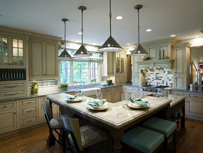 Gorgeous kitchen.  Love the backsplash and island/bar.