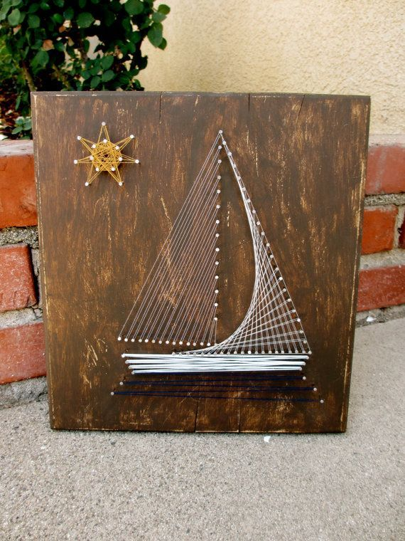 Nautical Sailboat String Art- as a present for a bachelor? on blued back ground …