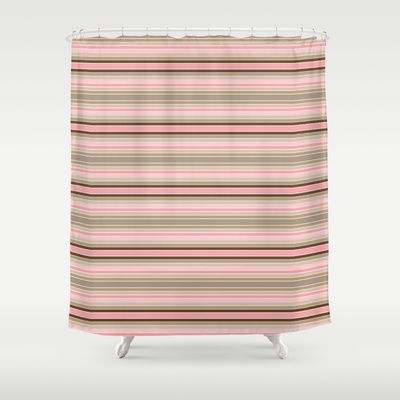 Striped colors of a pink and beige conch sea shell Shower Curtain by Celeste - $68.00  #pinkandbrown #homedecor #stripes