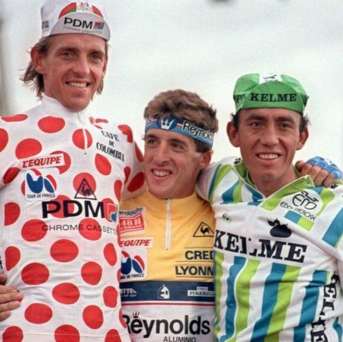 "TOUR 1988. Steven Rooks, Pedro ""perico"" Delgado, FABIO PARRA."