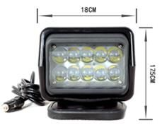 """""""Remote"""" Work, Spot, Flood Light LED 50W  Operating Voltage: 12/24V DC  Waterproof rating: IP 67  10*5w high intensity Cree LEDs  Luminous Flux 3750lm  Color Temperature: 6000K  Material: Die cast aluminum housing  Lens material: PC  Beam: 30 degree  Expected Life 30000+ hours  Certificates: CE RoHs"""