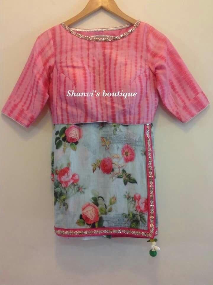 Floral linen saree with silk shibori blouse