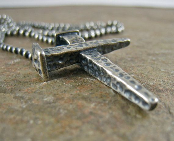 Rugged Hammered Nail Cross Mens Cross Necklace Sterling Silver Men's Cross Necklace, Cross of Nails