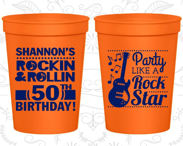 50th Party Favor Cups, Rock and Roll Birthday, Party like a Rock Star, Party Favor Cups, Fun Birthday Cups (20173)