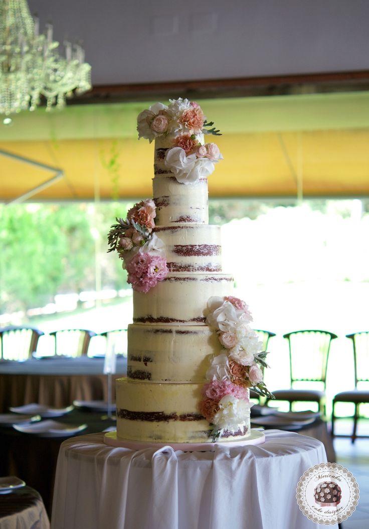 Blooms Semi Naked Wedding Cake