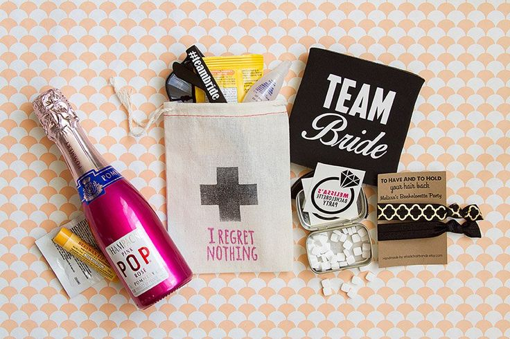 """Fun 'hangover kit' for your bachelorette party! I love the bag: """"I Regret Nothing"""". :) By BeCollective. 