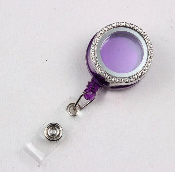 30mm Purple Background Nurse Teacher Badge Reel by ArmCandyCompany