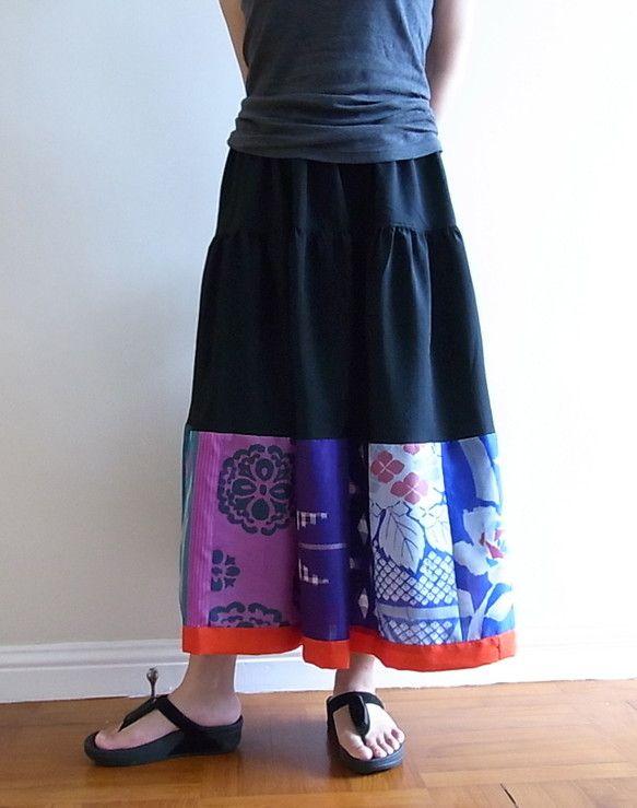 ビンテージの着物地を使ったフレアスカート -ロング