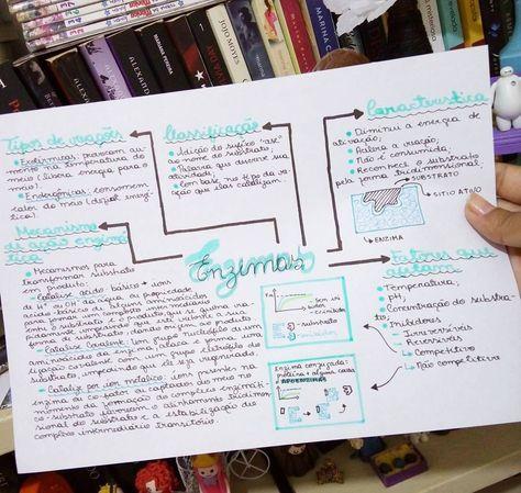 Resuminho de Enzimas, galera! . . Em #enzimas #bioquimica #quimica #aula #mapamental #resumo #estudar #papel #papelaria #livros #ler #books #prova #enem #vestibular #estudo