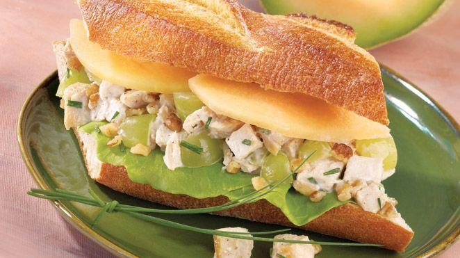 Sandwich au poulet et au cantaloup | Recettes IGA | Lunch, Melon, Recette rapide