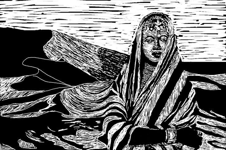 Digital Drawing for desert print, Diane