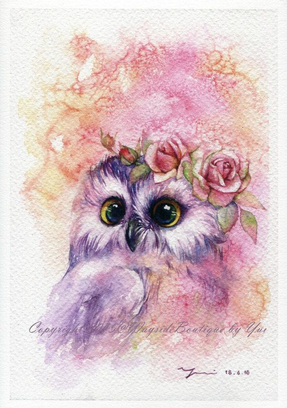 PRINT  Sweetie Owl keep Watercolor painting 7.5 by WaysideBoutique