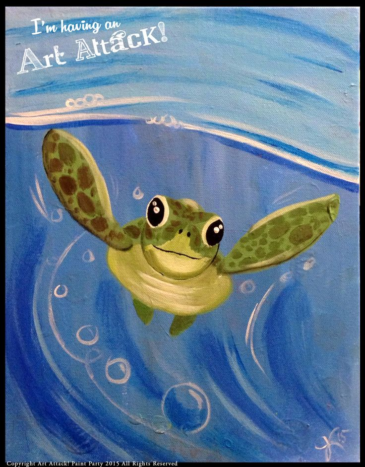Art Attack! Paint Party. Baby Sea Turtle. Original Artwork by Julie Kukreja  www.artattackpaintparty.com