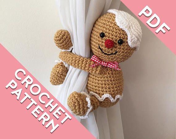 Gingerbread man curtain tie back crochet PATTERN left or