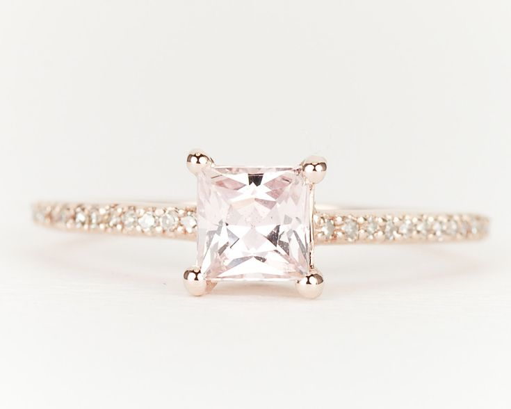 peach sapphire and rose gold engagement ring