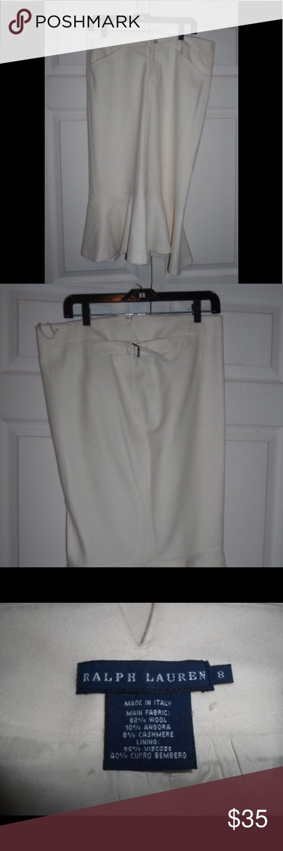 Ralph Lauren, Ivory Wool Blend Trumpet Skirt In good condition, no holes, tears, etc.  Made in Italy. Ralph Lauren Skirts Midi