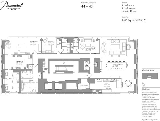 Baccarat Hotel And Residences Floor Plan Apartment 44
