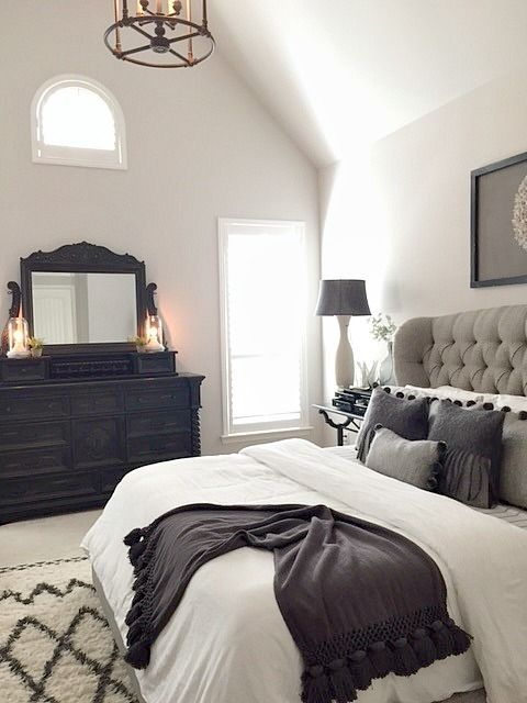 Whimsy Woman Design: grey, white and black main bedroom....  Find out even more by clicking the image